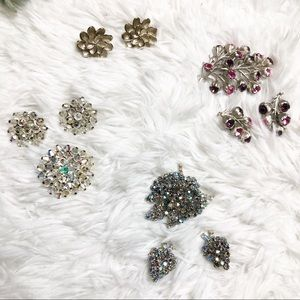 Vintage Clip On Earring and Broach Sets Bundle